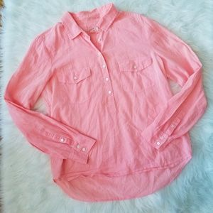 J. Crew Popover Bright Pink Button Shirt